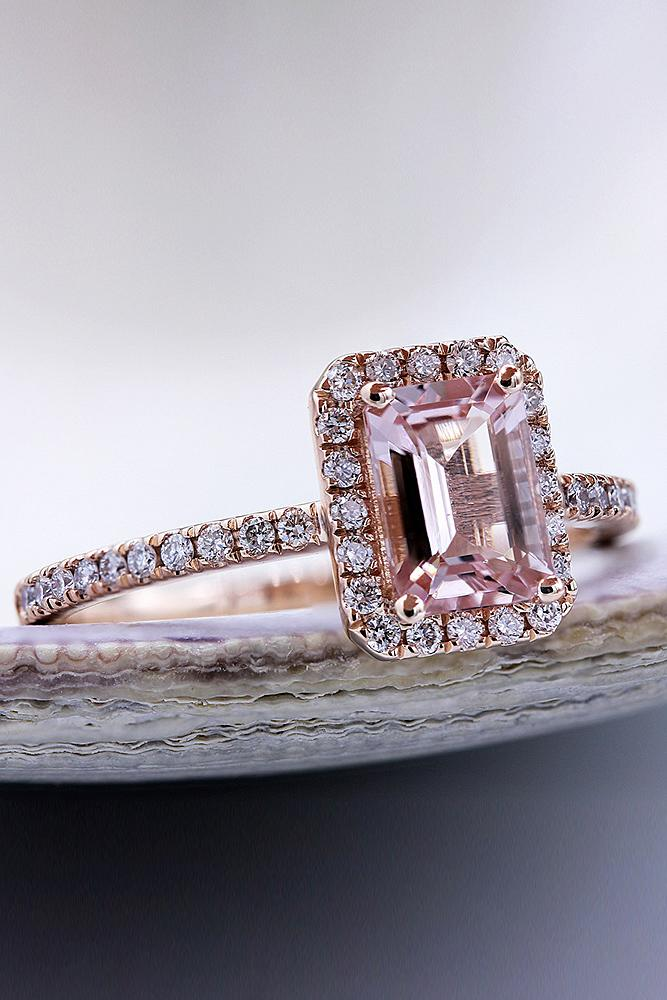 best rose gold engagement rings emerald cut diamond halo diamond pave band classic