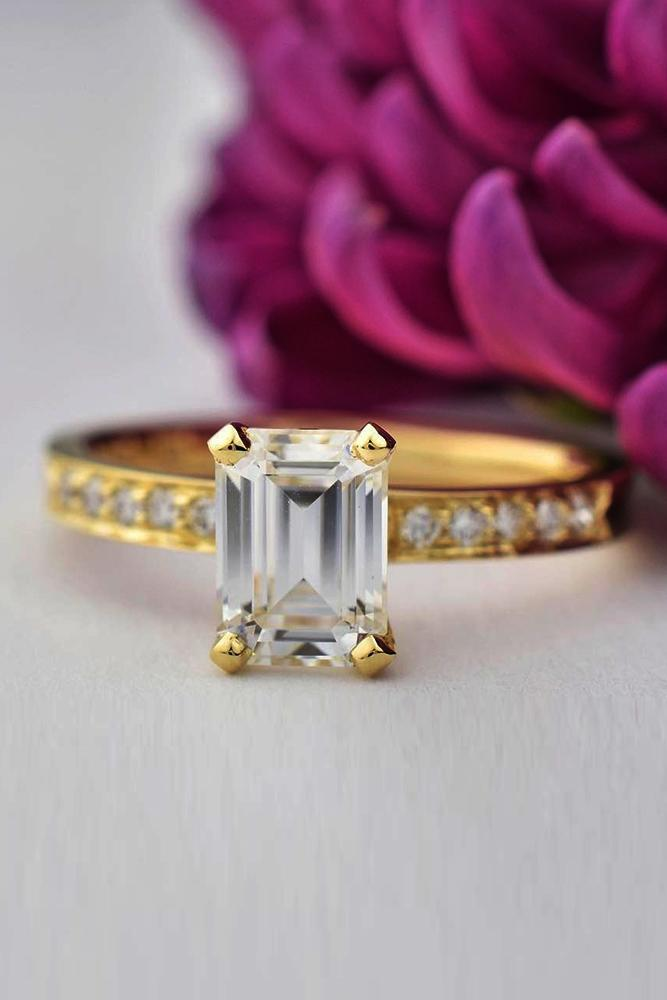best rose gold engagement rings emerald cut solitaire pave band