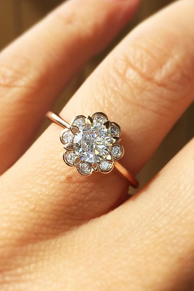 best rose gold engagement rings floral halo round cut unique