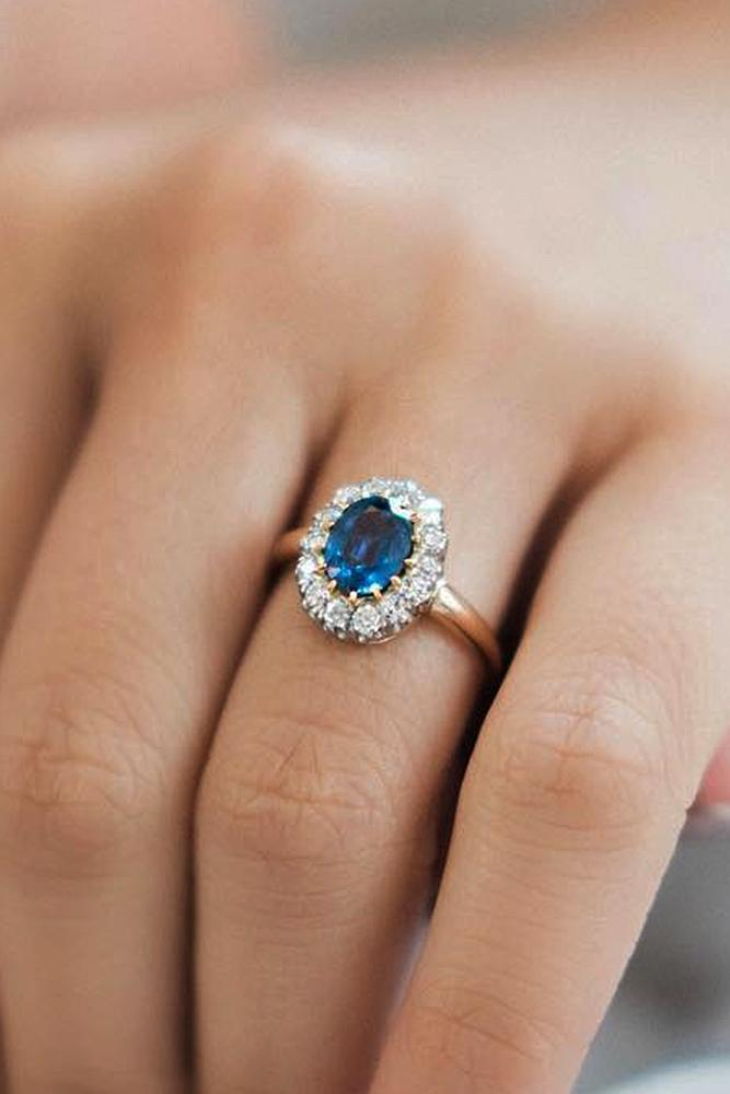 best rose gold engagement rings halo floral sapphire
