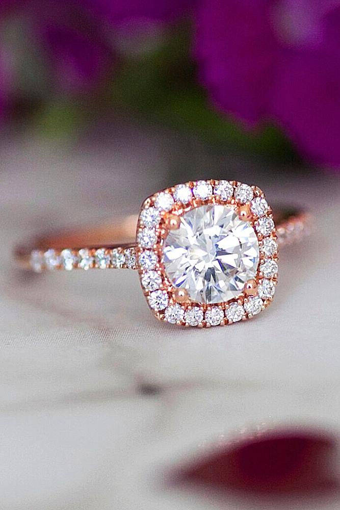 best rose gold engagement rings halo round cut diamond pave band