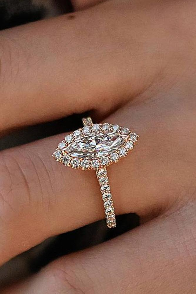 best rose gold engagement rings marquise cut halo pave band