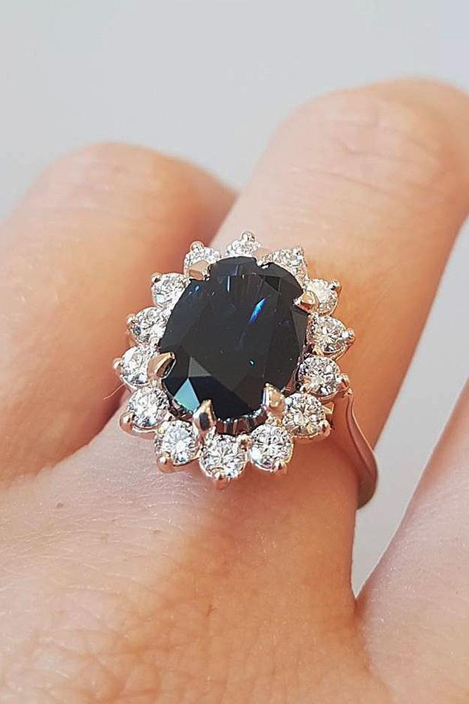 best rose gold engagement rings oval cut black diamond floral halo