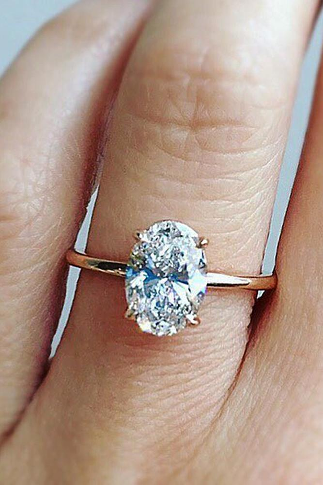 best rose gold engagement rings oval cut simple solitaire