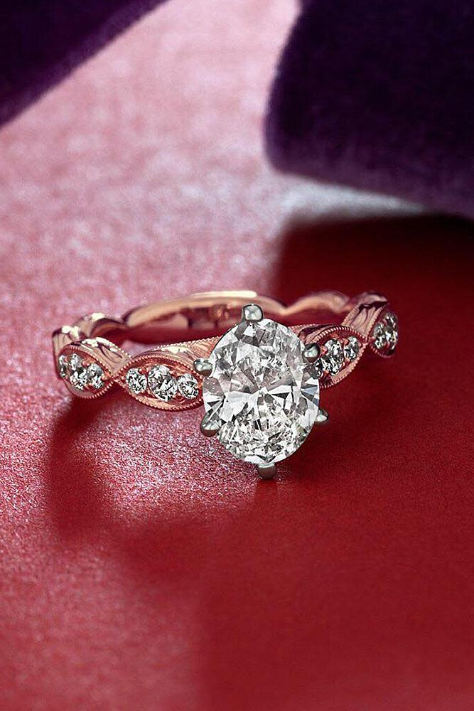 best rose gold engagement rings oval cut solitaire twist diamond
