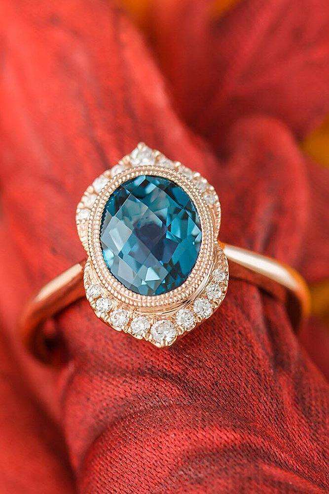 best rose gold engagement rings oval cut vintage gemstone