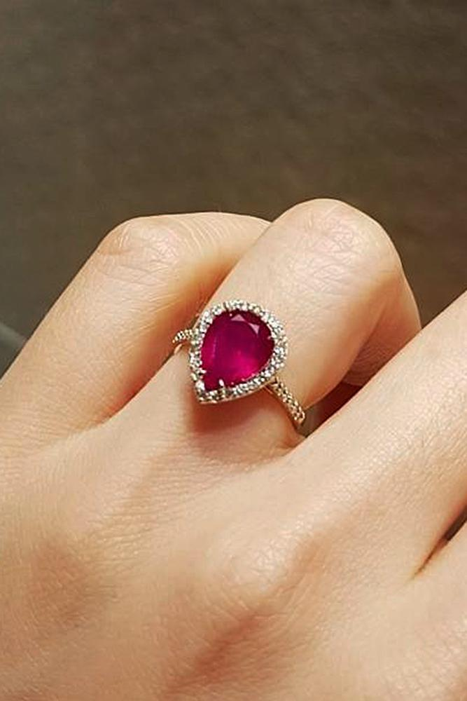 best rose gold engagement rings pear cut ruby halo