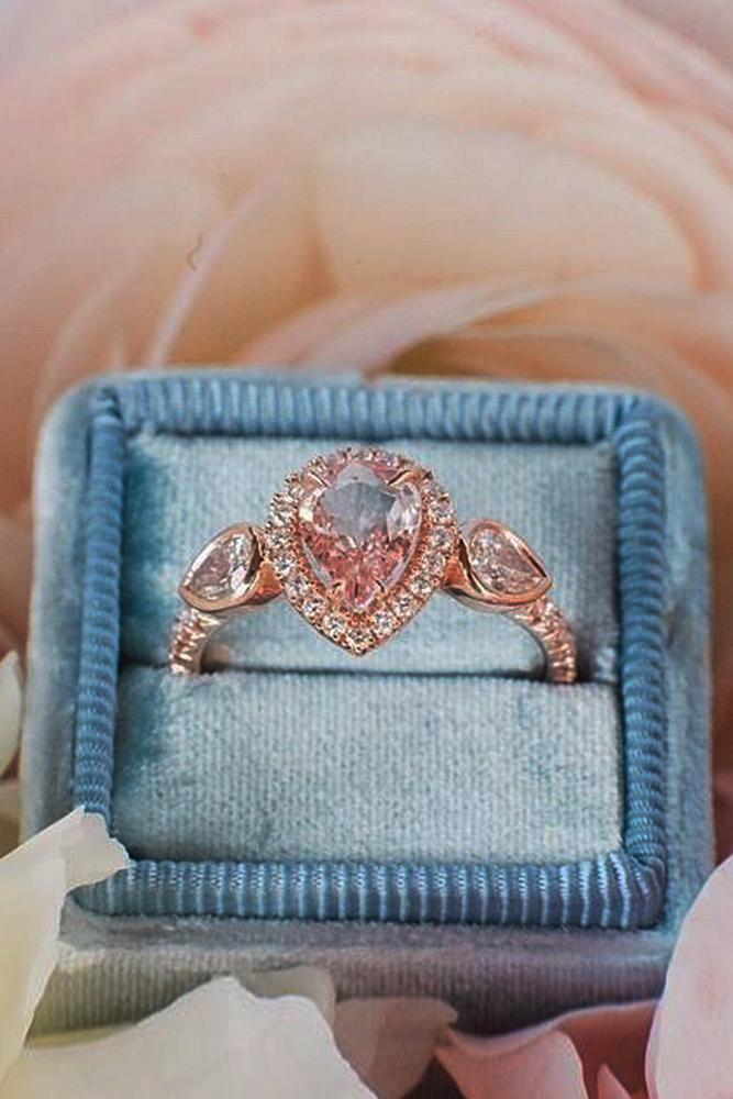 best rose gold engagement rings pear cut unique halo