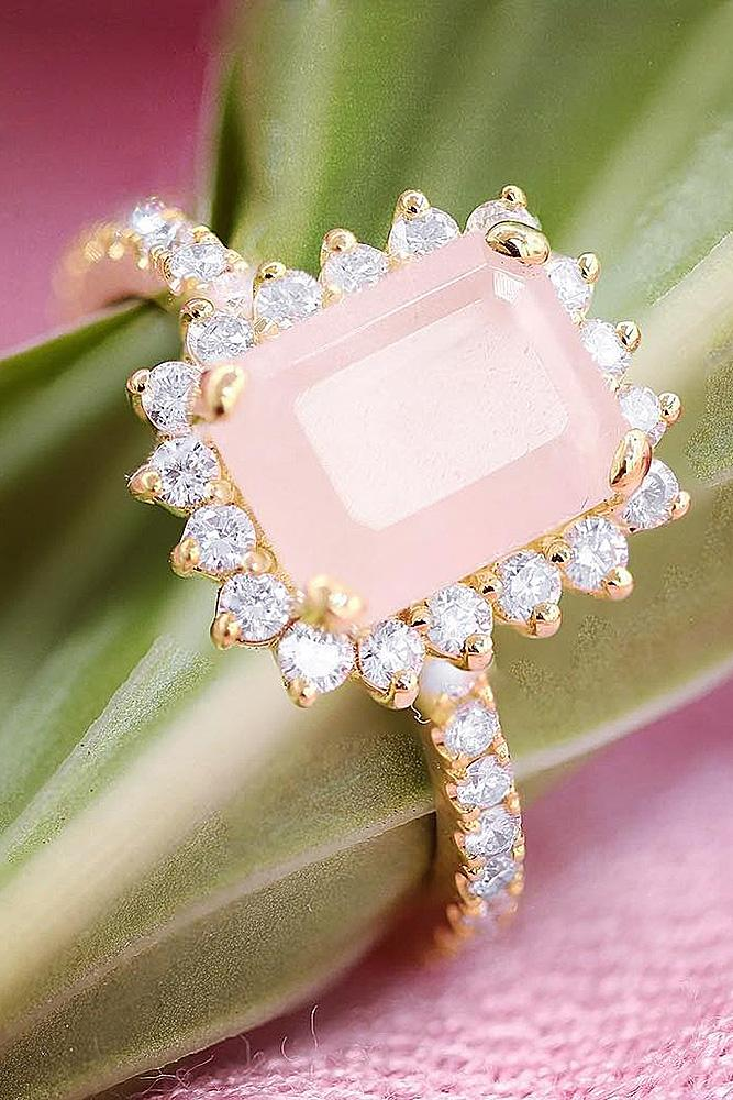 best rose gold engagement rings pink emerald cut halo wondering