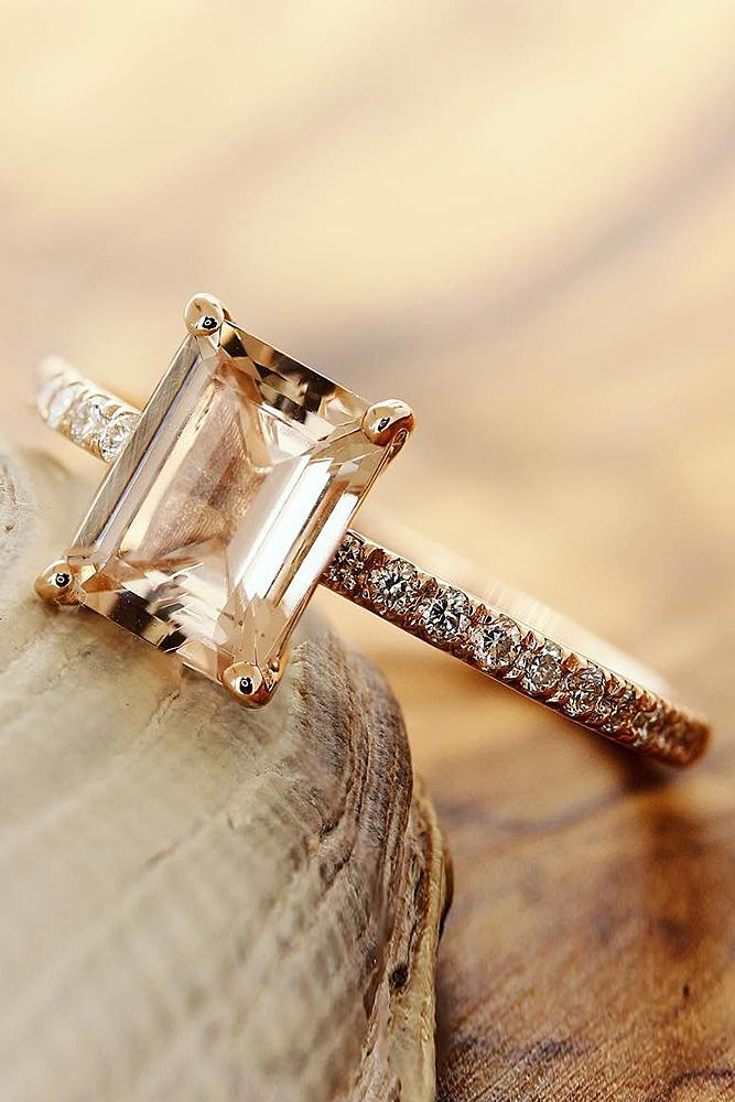 best rose gold engagement rings pink solitaire emerald cut classic sparkling