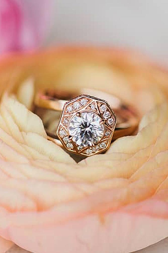 best rose gold engagement rings round cut diamond vintage