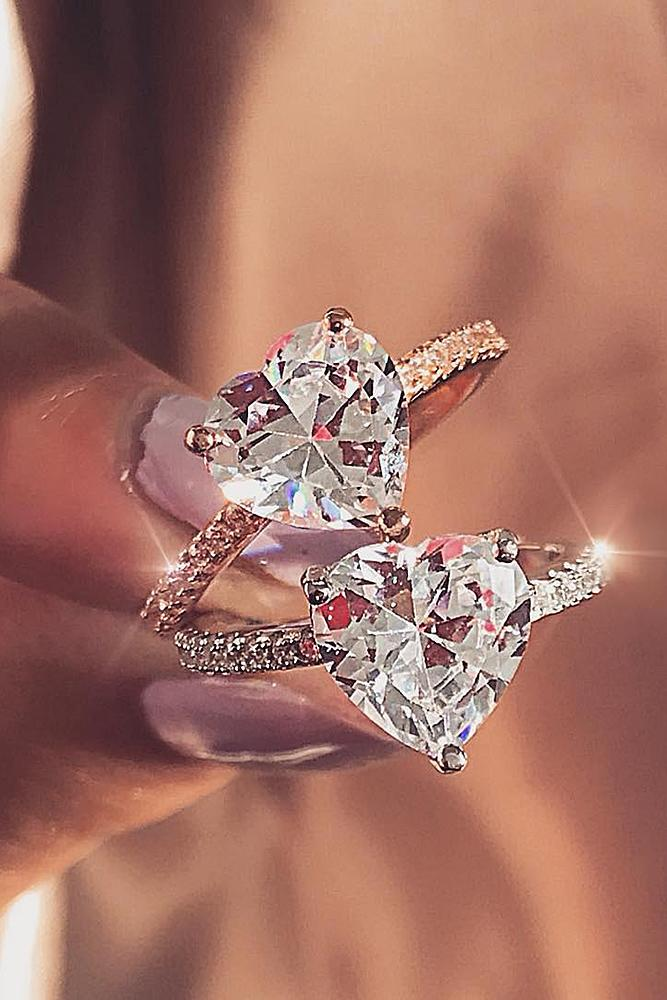 best rose gold engagement rings soliraire heart cut diamond classic brilliant