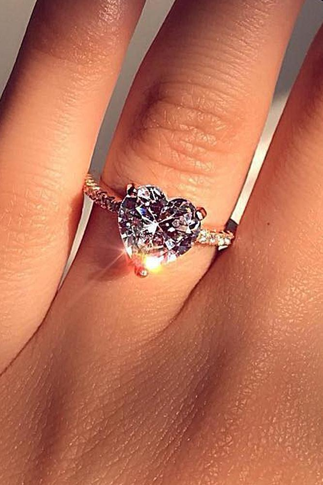 best rose gold engagement rings soliraire heart cut pink diamond classic