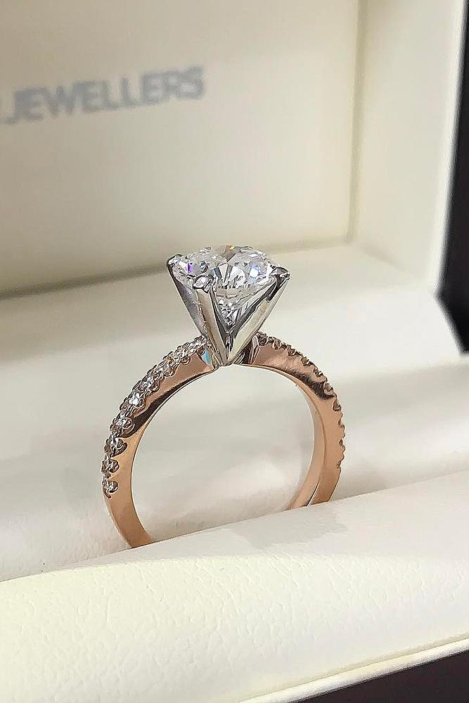 best rose gold engagement rings solitaire pave band round cut