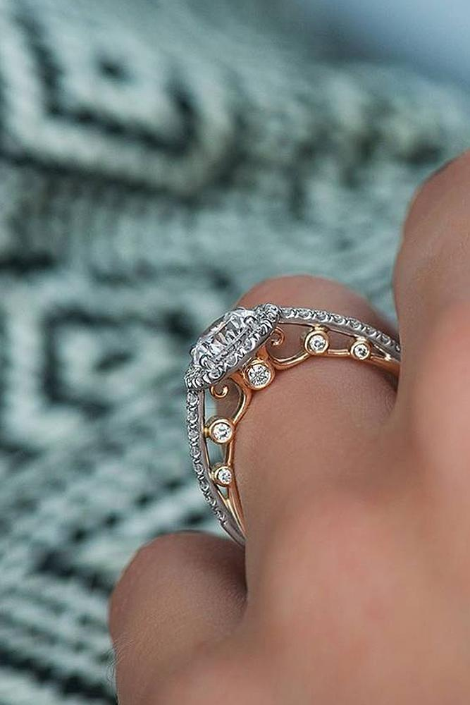 best rose gold engagement rings vintage diamond pave band round cut