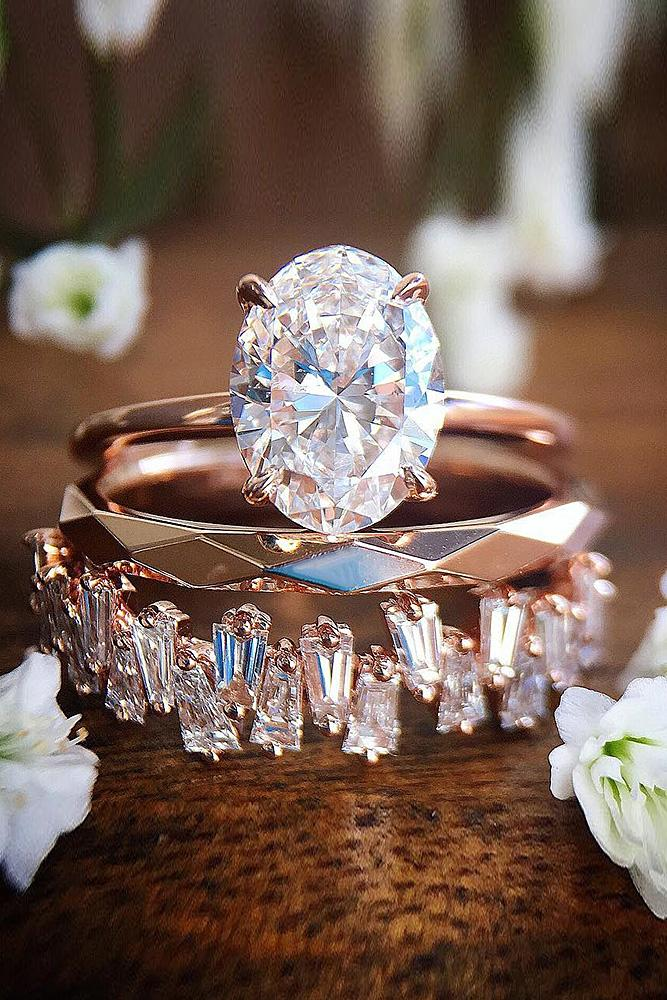 best rose gold engagement rings wedding set oval cut solitaire