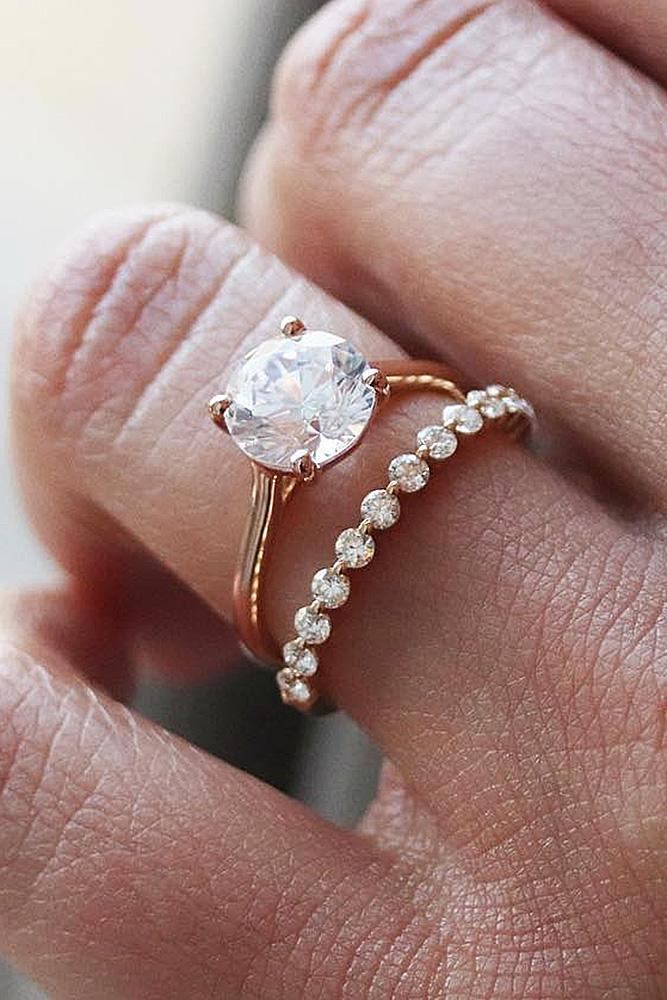 best rose gold engagement rings wedding set solitaire diamond round cut