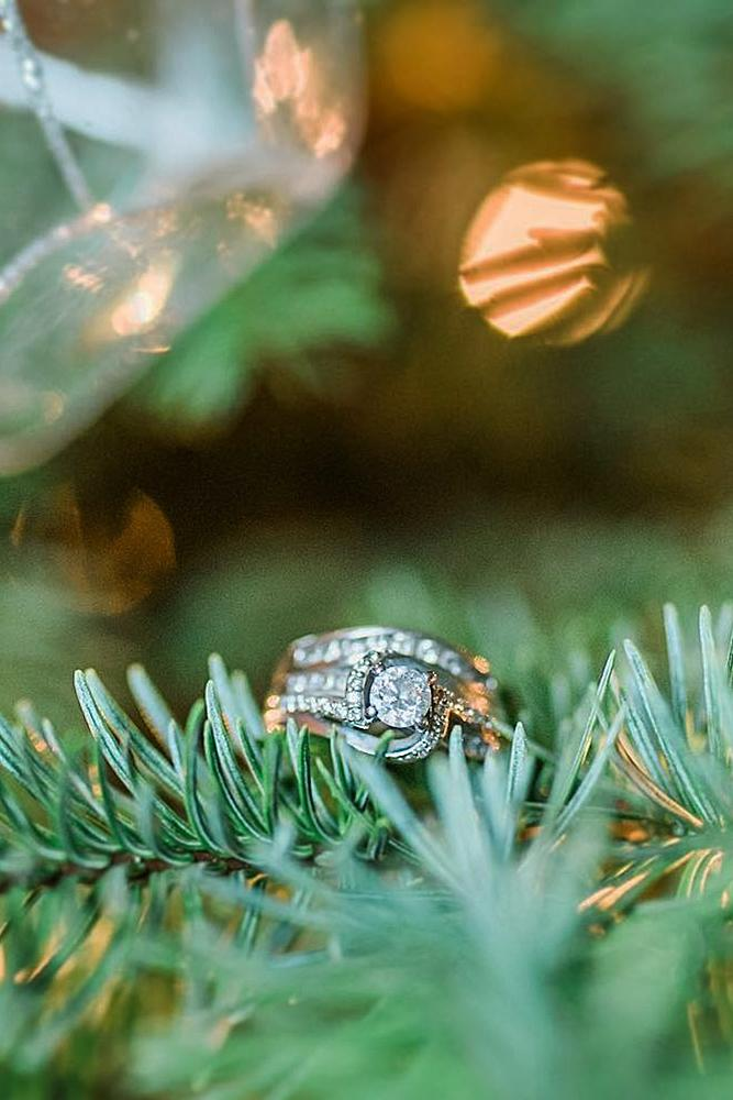christmas proposal engagement ring tree