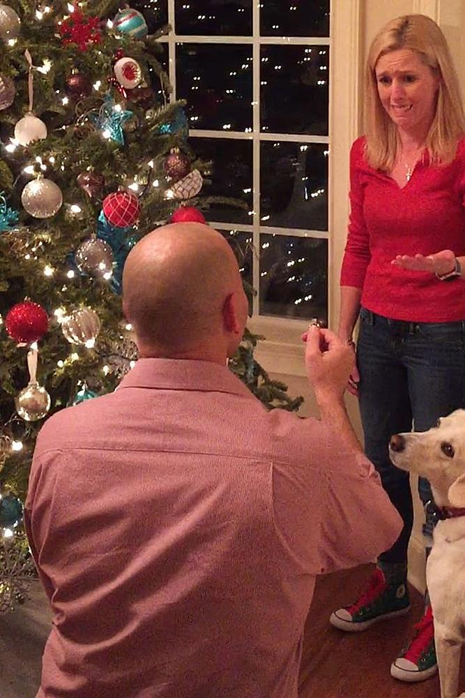 christmas proposal man propose a woman couple