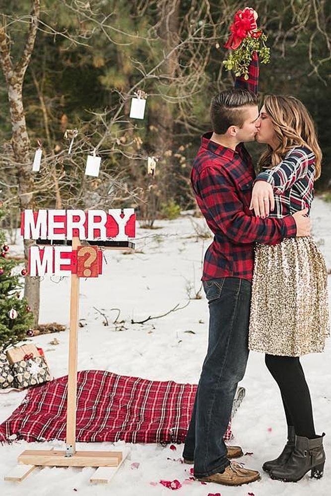 christmas proposal romantic couple nature forest