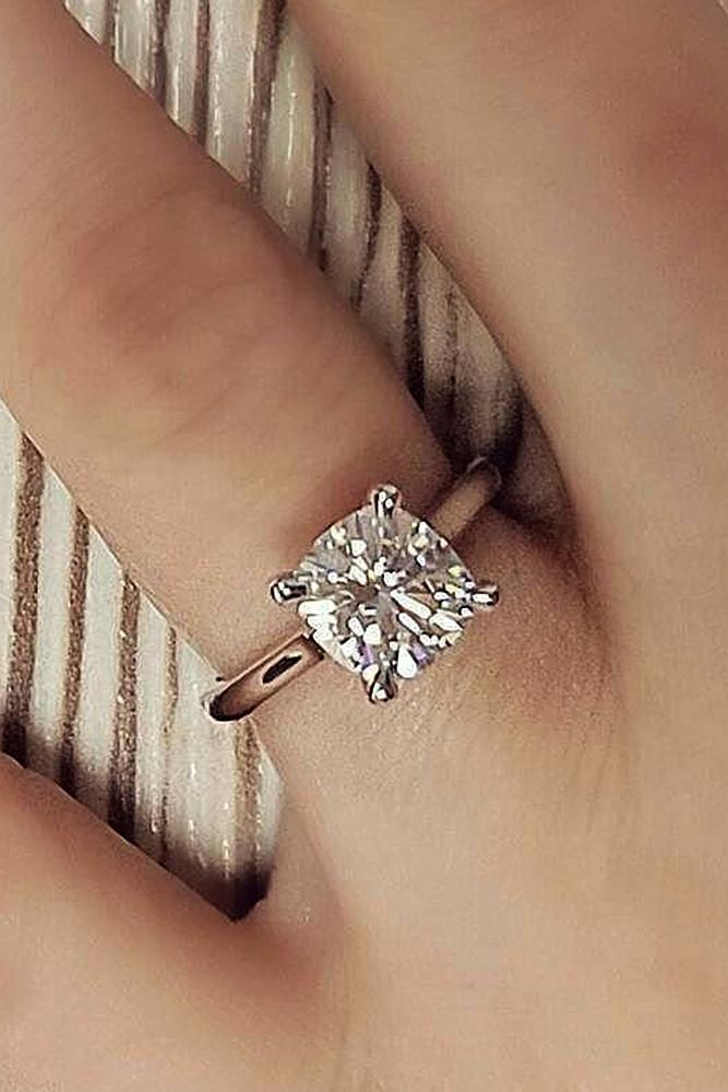 custom engagement rings cushion cut diamond rose gold solitaire