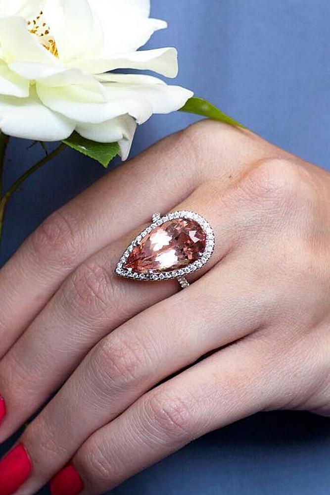 custom engagement rings gemstone halo gold pear cut