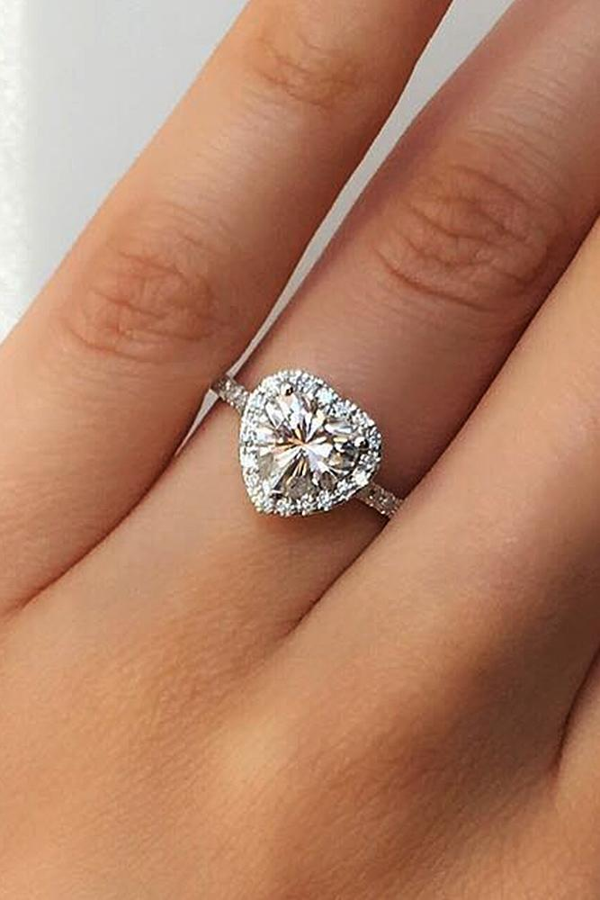 custom engagement rings heart halo pave band white gold
