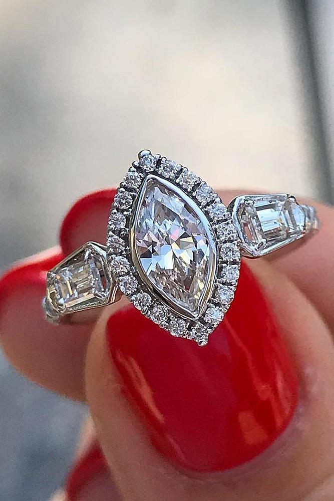 custom engagement rings marquise diamond halo unique