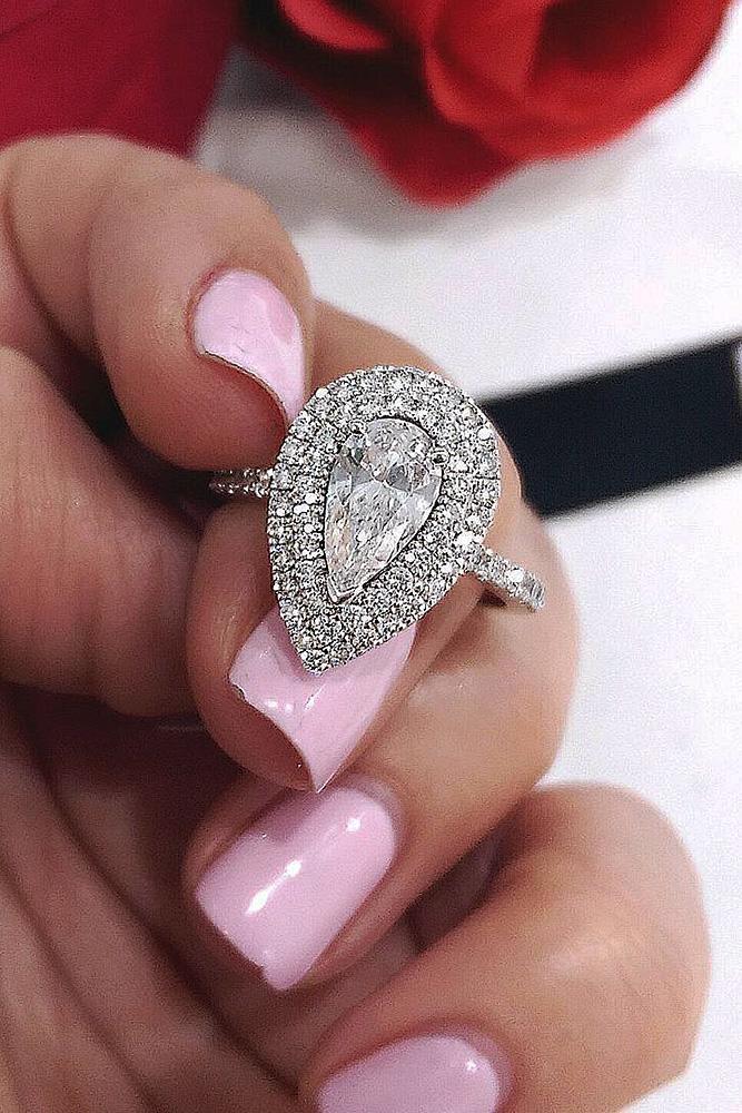 custom engagement rings pear cut diamond unique double halo