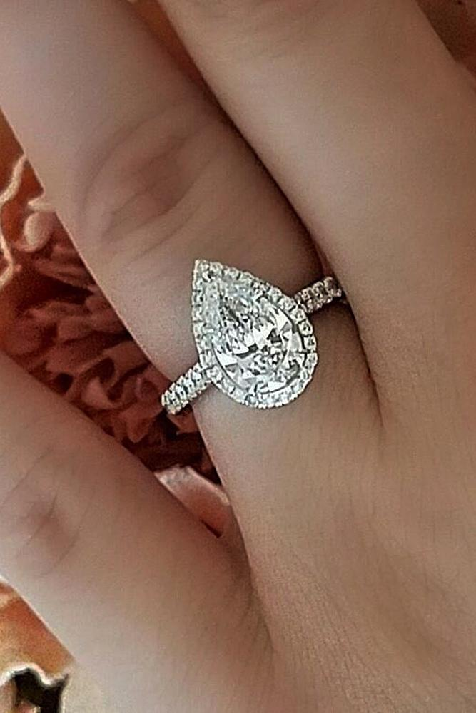 custom engagement rings pear cut gold double halo