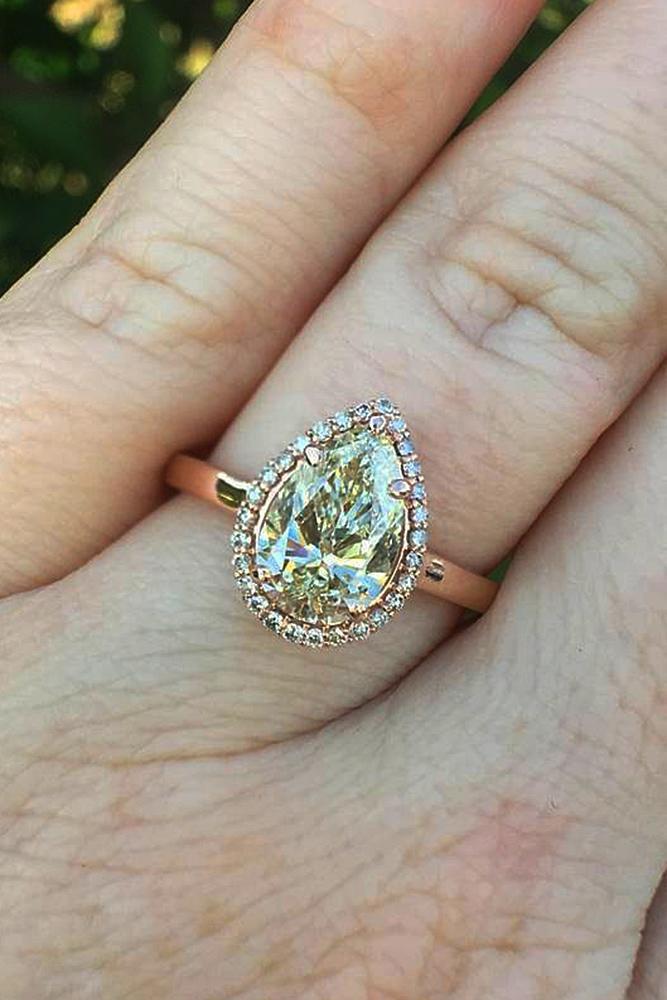 custom engagement rings pear cut halo rose gold