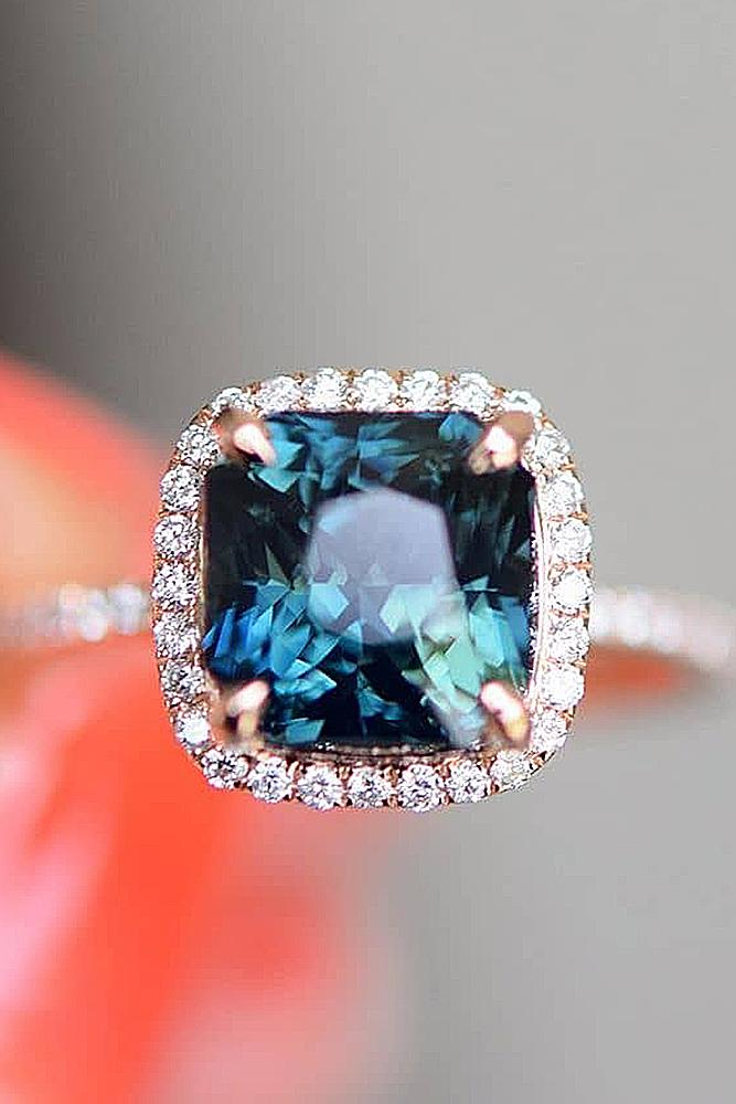 custom engagement rings rose gold blue cushion cut gemstone halo classic sparcling