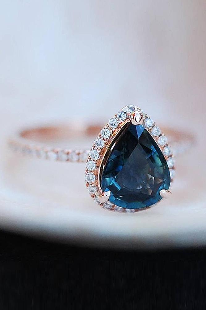 custom engagement rings rose gold blue pear cut sapphire halo classic