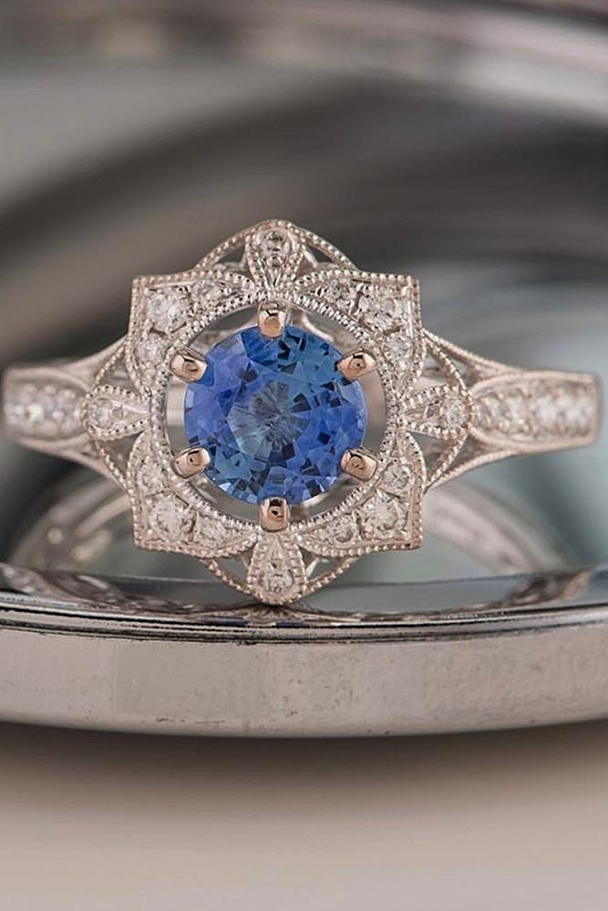custom engagement rings rose gold blue round cut gemstone halo vintage special