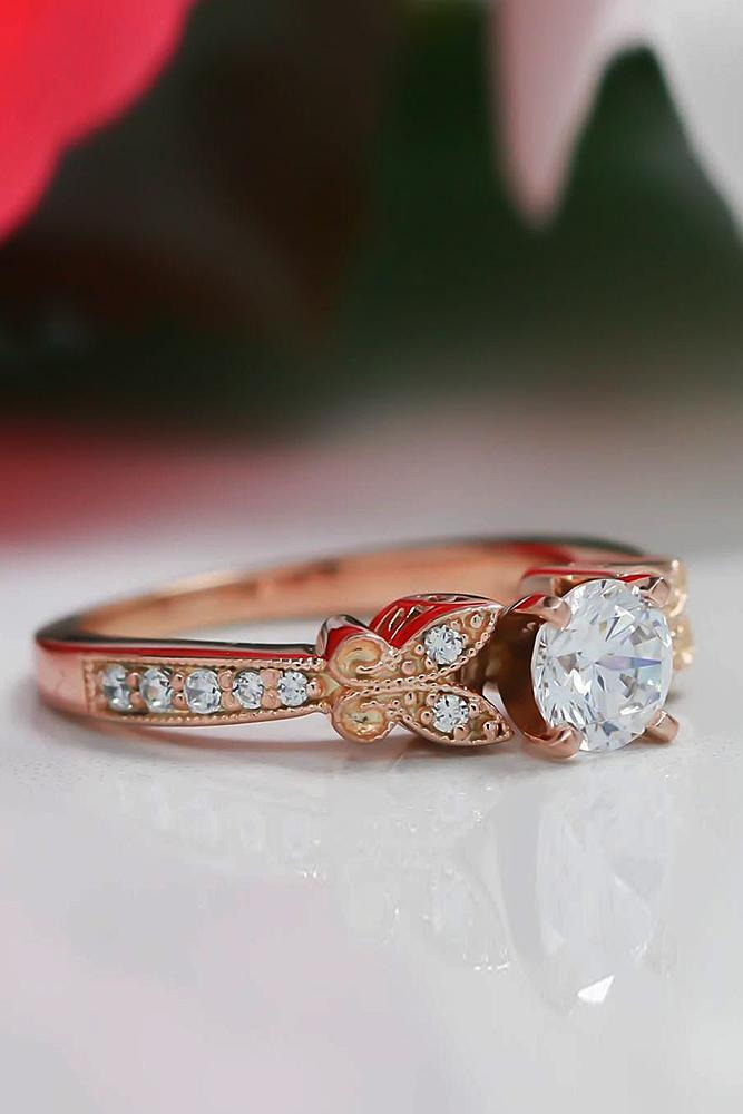 custom engagement rings round cut diamond vintage rose gold