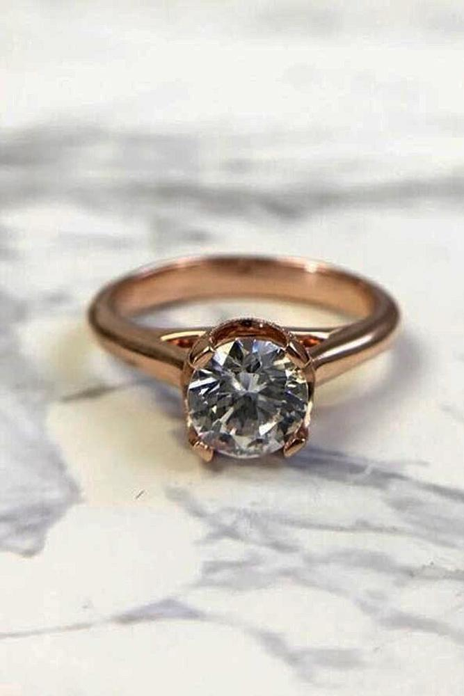 custom engagement rings round cut simple solitaire diamond rose gold