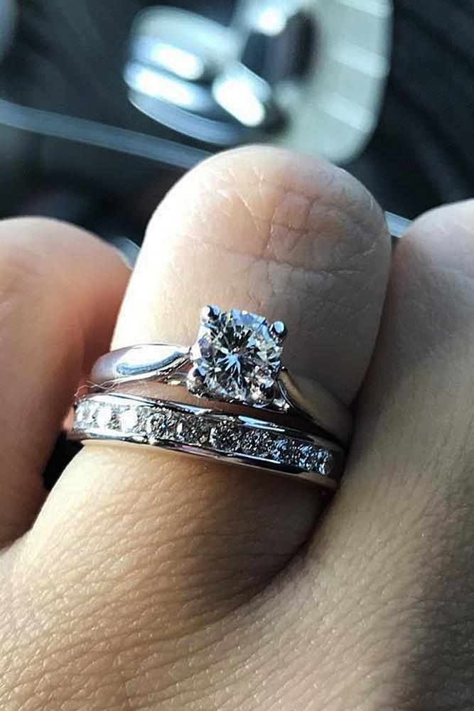 custom engagement rings round cut solitaire gold wedding set