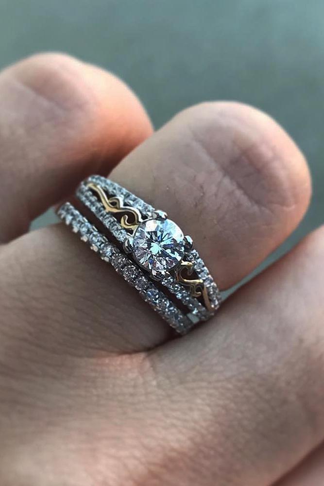 custom engagement rings round cut wedding set gold