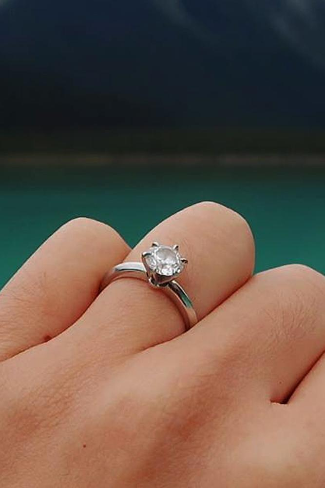 custom engagement rings solitaire simple diamond white gold