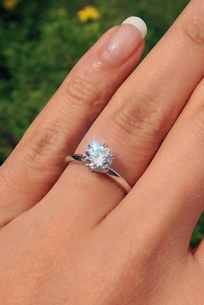 custom engagement rings solitaire simple round cut