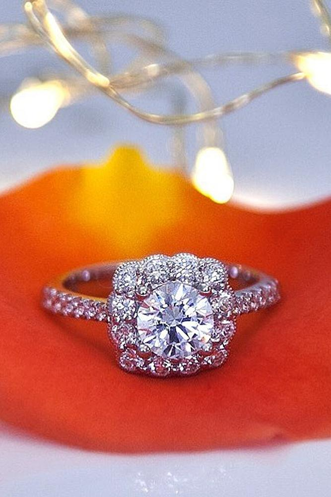 custom engagement rings unique halo round cut pave band