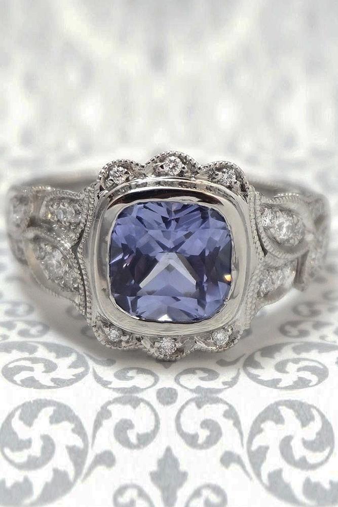 custom engagement rings white gold blue cusion cut gem vintage pave band brilliant