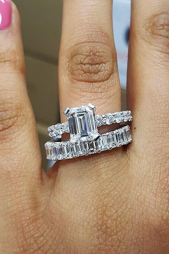 engagement ring designers emerald cut white gold diamond