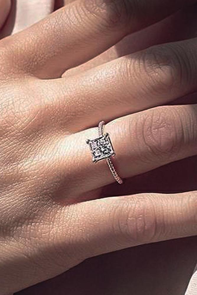 engagement ring designers gold simple solitaire diamond princess cut