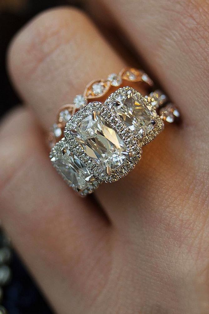 engagement ring designers mix metals rose gold white gold three stones set