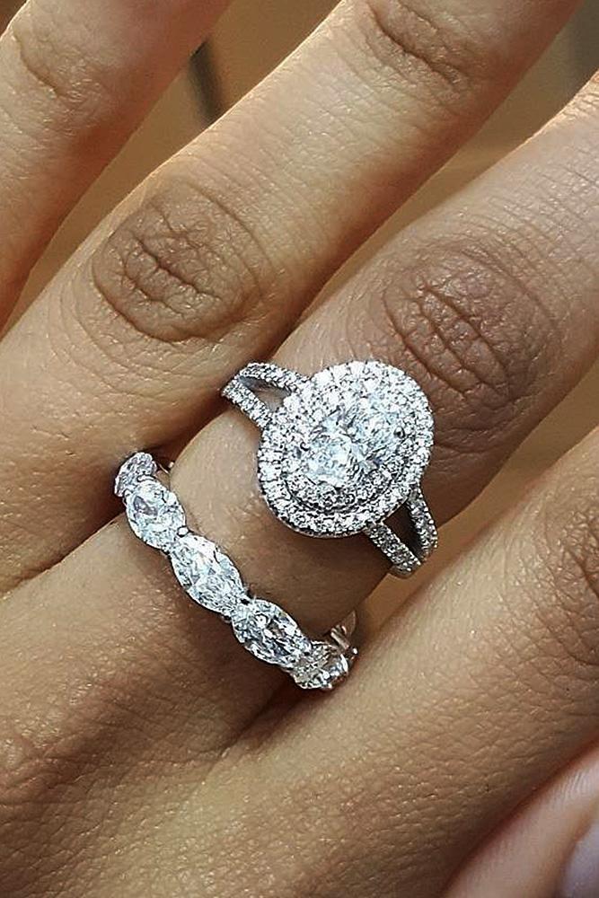 engagement ring designers oval cut halo split pave band set