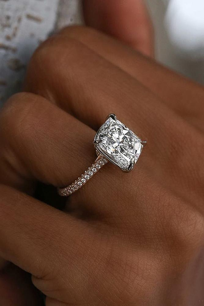engagement ring designers pave band cushion cut rose gold diamond solitaire