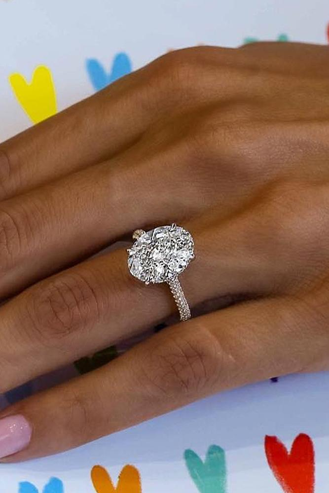 engagement ring designers pave band oval cut gold diamond solitaire