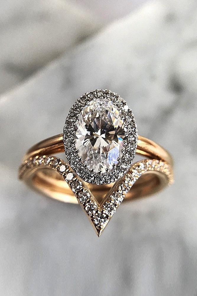 engagement ring designers pave band oval cut rose gold set halo