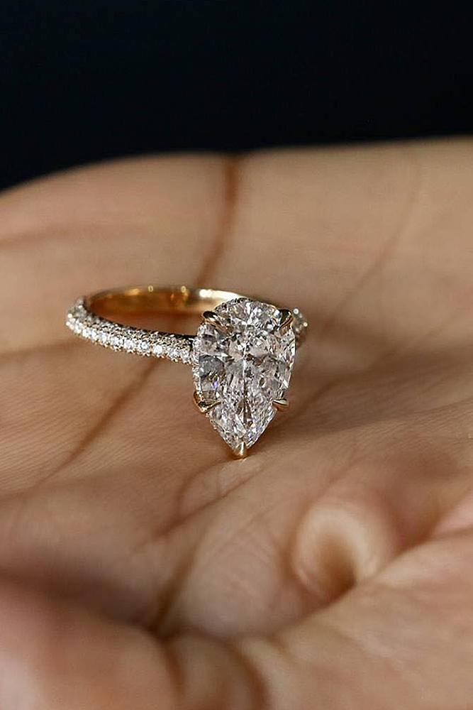 engagement ring designers pave band pear cut gold solitaire